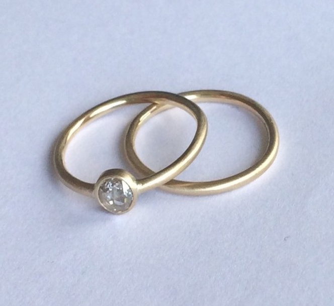 Nardia's Conflict Free White Rose-cut Diamond Engagement Ring and Wedding Band set in Recycled 9ct Yellow Gold