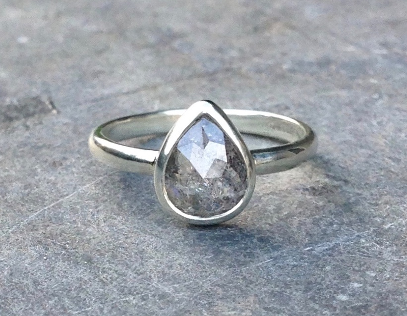 Francesca and Chan's Fabulous 1.26 ct Ethical mine to market Pear Shaped Salt and Pepper Grey Rose-cut Diamond Engagement Ring in 9ct Recycled White Gold