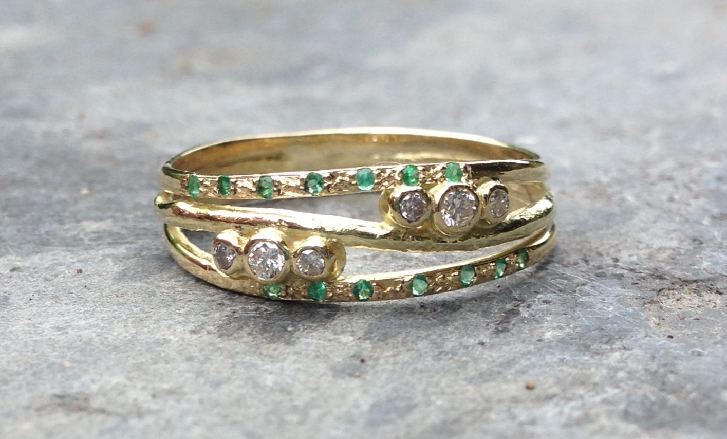 18ct Yellow Recycled Gold Engagement Ring, inspired by a love for the Sea and Rugged Coastlines, set with Ethically Sourced Emeralds and Diamonds