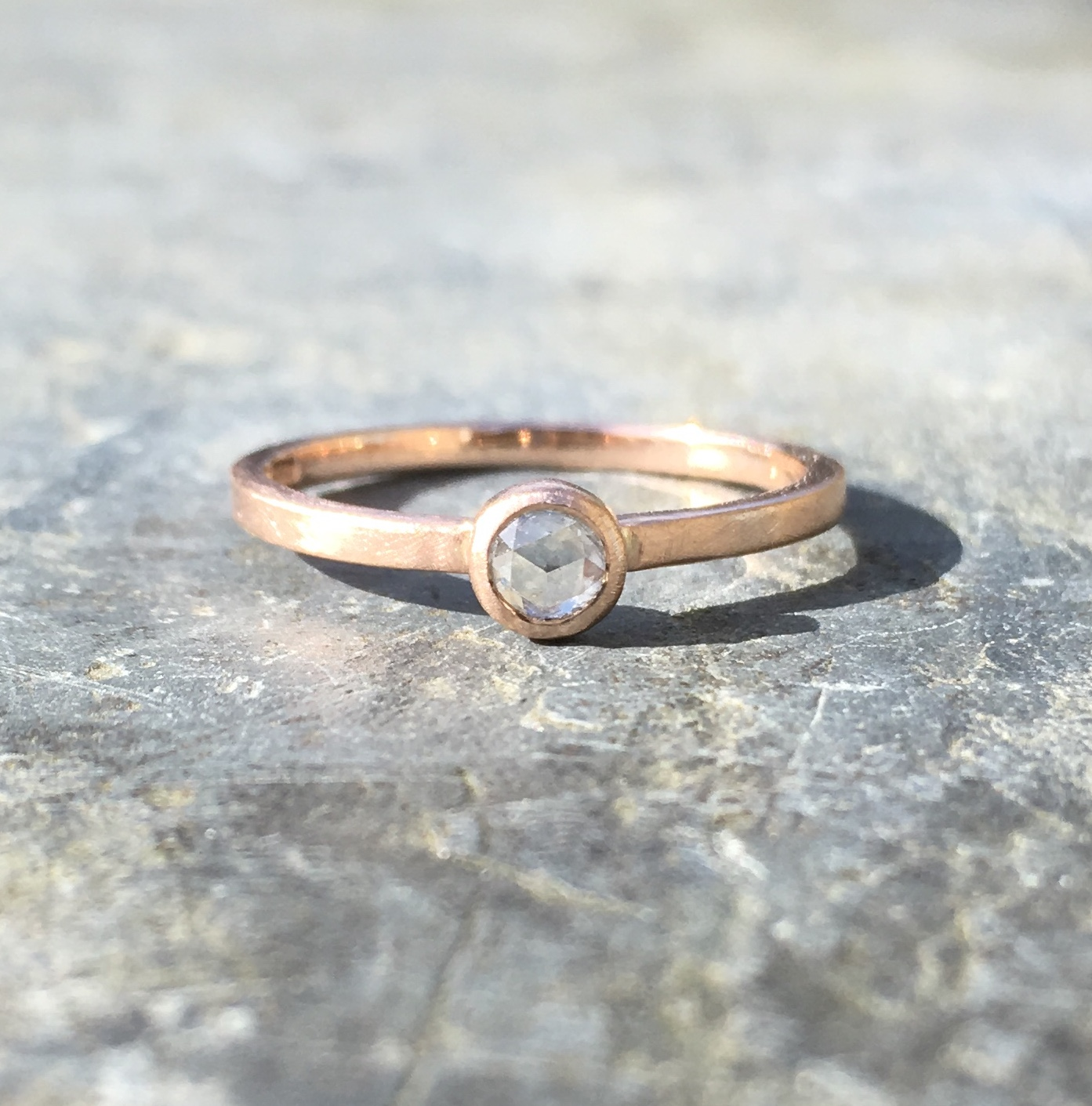 Recycled 18ct Rose Gold Engagement Ring, set with a pretty sparkly Ethically Sourced Rose-Cut Diamond