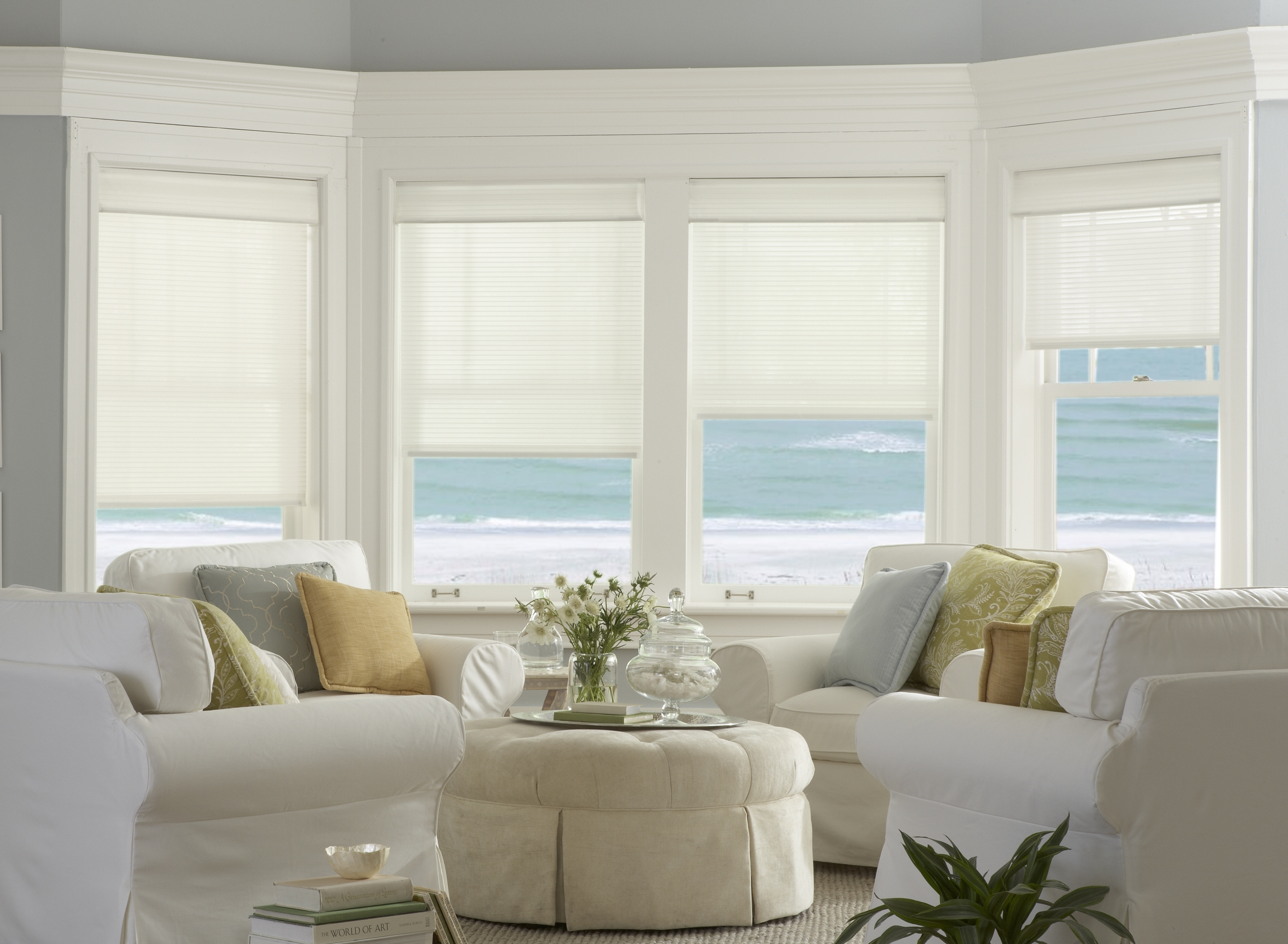 Add elegance and privacy without obstructing a beautiful view. Photo courtesy of Horizons Window Fashions