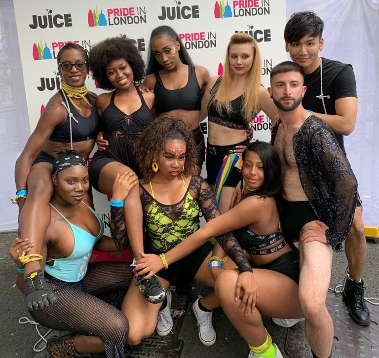 Sinitta's fab dancers troop!