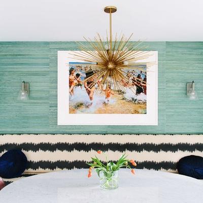 walls:  luscious aqua grasscloth livens up a casual eating space…..