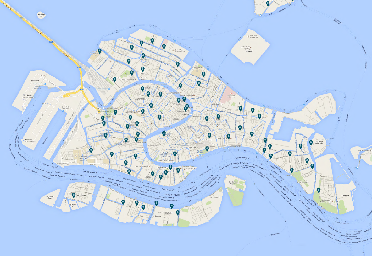 map of Fontanelle in venice -