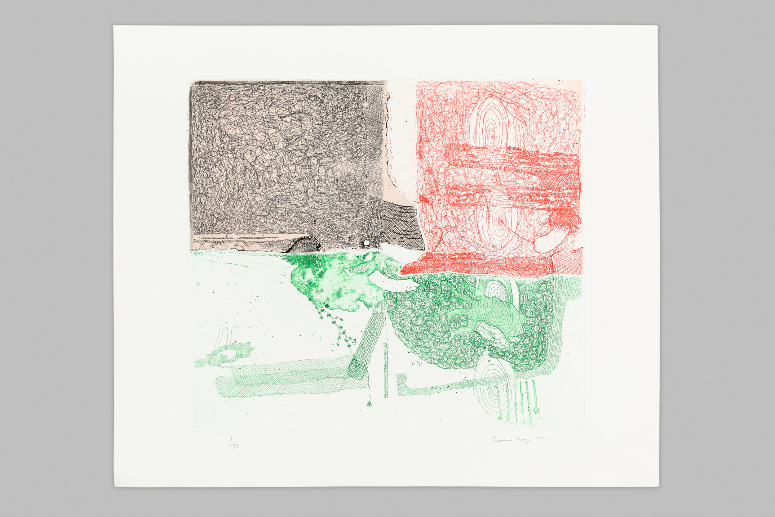 Semi-abract line etching using delicate green, red and black lines.