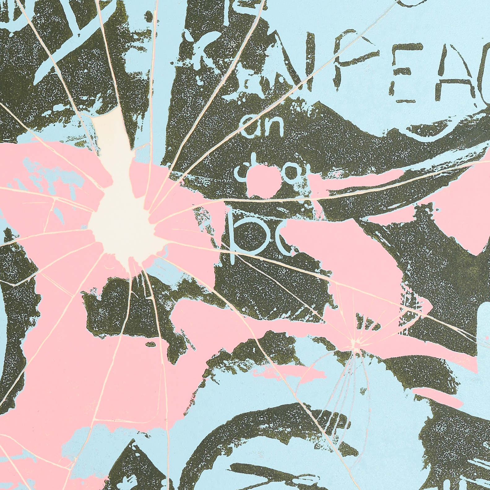 Close up section of a semi-abstract artwork with large areas of light blue, pink and black. Peace symbols and markings resembling broken glass are visible.