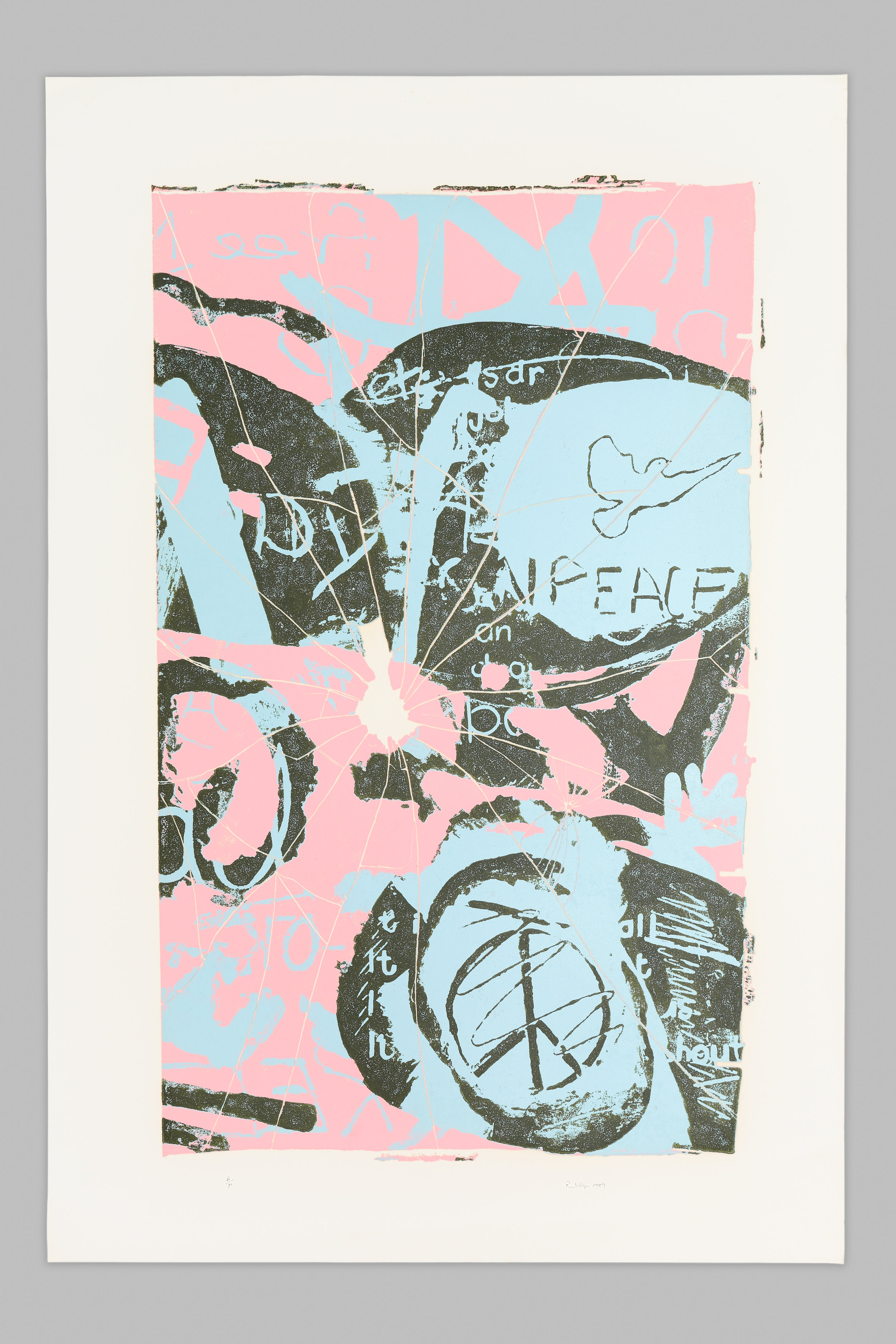 A semi-abstract artwork with large areas of light blue, pink and black. Peace symbols and markings resembling broken glass are visible.