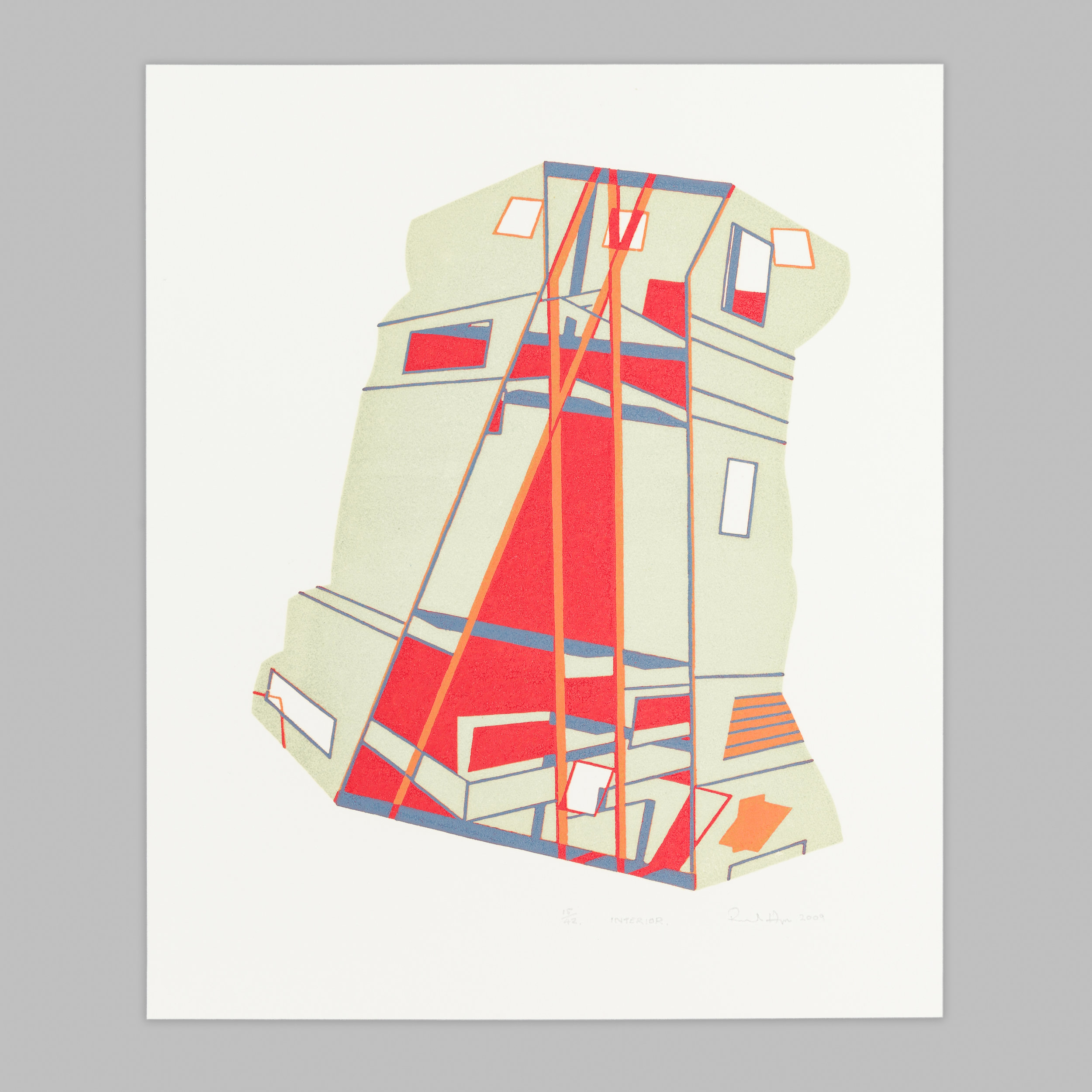 An abstract wood reduction engraving showing geometric forms - bold red and orange areas stand out against more muted tones.