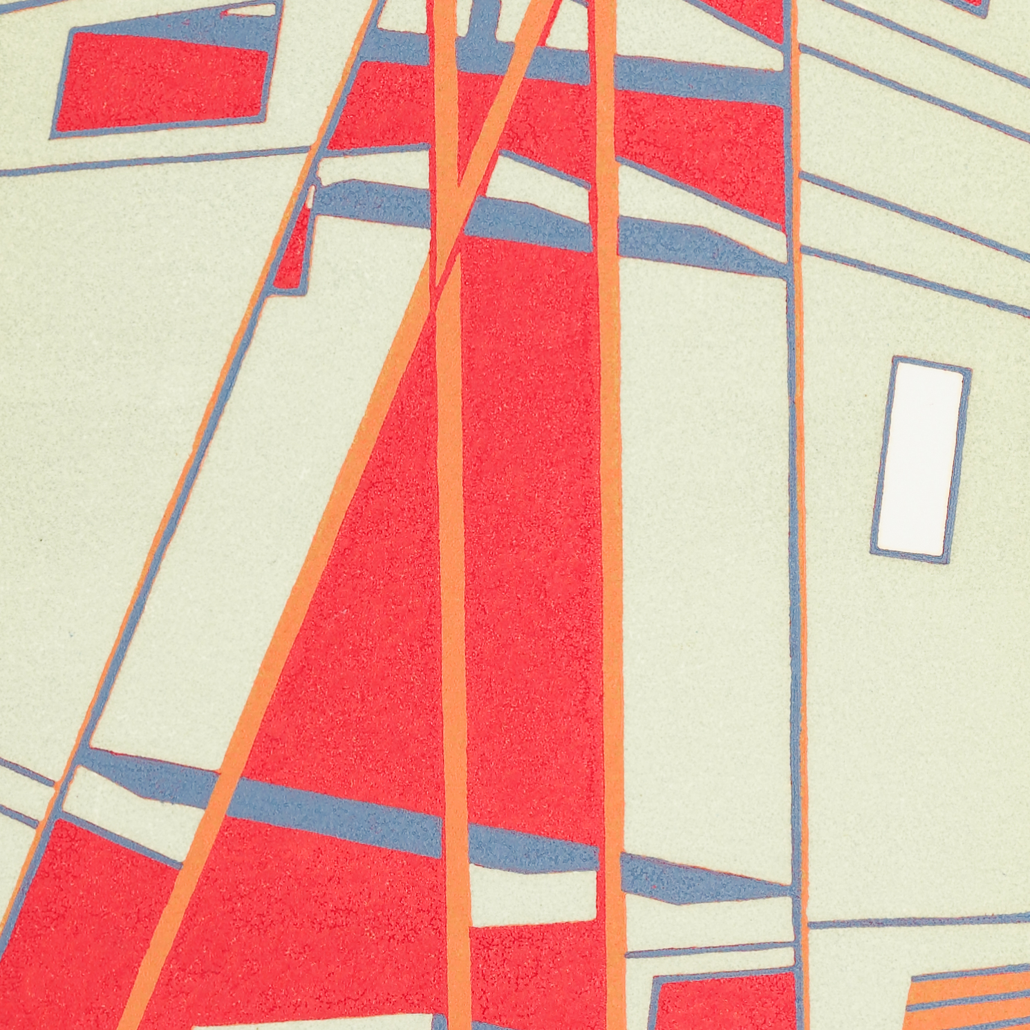 Close up section of an abstract wood reduction engraving showing geometric forms - bold red and orange areas stand out against more muted tones.