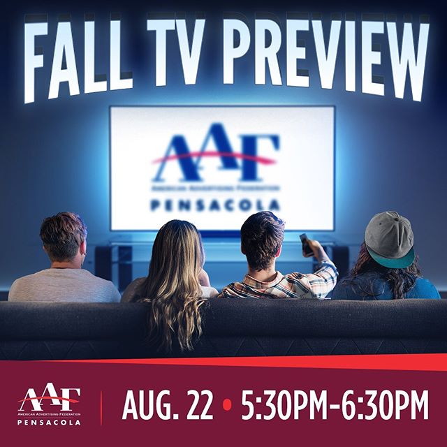 Don't miss out on this sneak peak of the must-see shows this Fall 📺  WHEN: Thursday, August 22nd; 5:30pm - 6:30pm  WHERE: Manna Food Pantries, Community Room 3030 N E St., Pensacola, FL 32501  Non-perishable food donations will be collected for Manna 🥫  Hors d'oeuvres will be provided + a cash bar 🍷 $15 for members & students🌟 $20 for non-members/walk-ins 🌟  Each year, AAF Pensacola invites local television stations and cable media to present their fall line-up for your viewing pleasure. It's a great chance to learn what your target audience is watching and see when your favorite show returns. A must-see program for anyone who buys, sells or works with media! ⚠️ RSVP by Monday, August 19th. Link in bio!