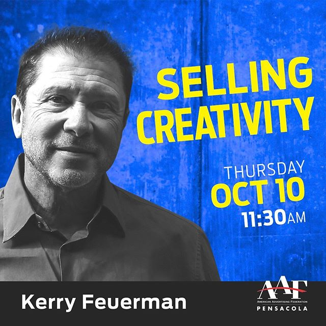 Join AAF Pensacola on October 10th for our next Speaker Series: Selling Creativity with Kerry Feuerman! This event will be at the @coworkannex - upstairs, enter through alley near Bluejays Bakery.  Lunch will be provided. If you have diet restrictions, please include details in the notes upon registering. . ‼️RSVP by the link in our bio by Monday, October 7th. Limited seating available.  The more creative the idea, the harder it is to sell. That's the theory behind Kerry Feuerman's talk on selling creative work. He should know. As a global creative director, Kerry's presented thousands of concepts for agencies like Fallon, TBWA\Chiat\Day and The Martin Agency, with awards of victory and scars of defeat to prove it.  Selling Creativity is a collection of industry insights and personal war stories not to be missed. From his eye-opening first job interview in Boston to looking down the gun barrels of irate car dealers in LA, Kerry shares what he's learned and how he's managed to sell over a billion dollars worth of work around the world.  No matter how much the advertising landscape changes, one thing remains the same: creative ideas have to be sold. And everyone has a role in the process. What's yours? Find out at the upcoming October AAF meeting.