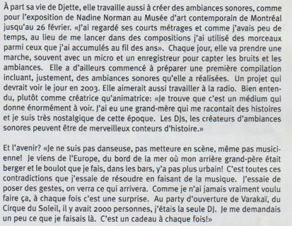 Extrait d'un article sur mon travail de DJ .  Magasine hebdomadaire Montréalais VOIR ( 2003)