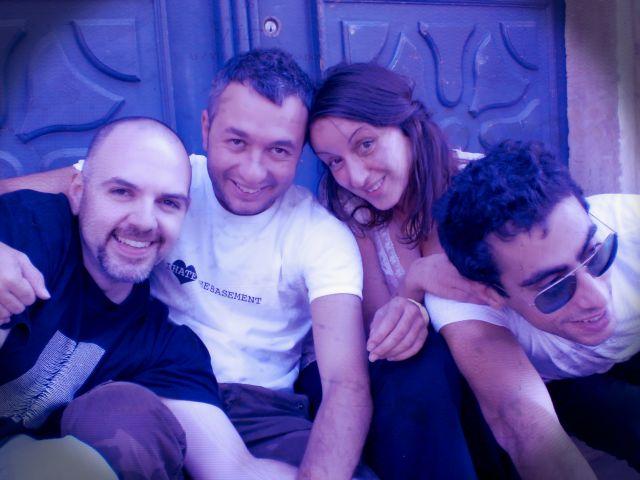 Une partie de l'équipe DONT BORDER ME -ESPRIT DE RÉSISTANCE FESTIVE. Ziad Nawfal, Jad Souaid,Christelle Franca et Charbel Haber. (France-2007)