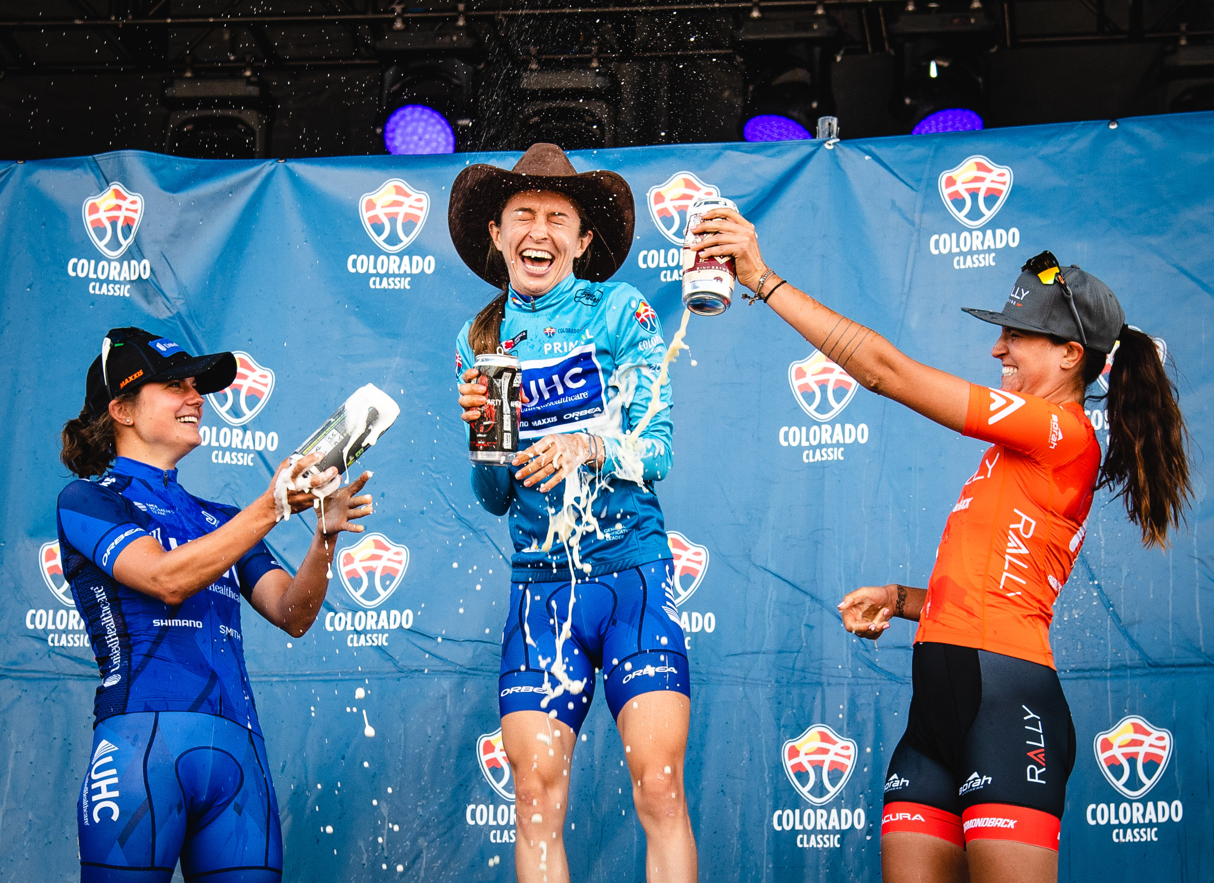 Katie Hall (now riding for Team USA/ Boels-Dolmans) won the 2018 Colorado Classic ahead of Leah Thomas and Abigail Mickey.