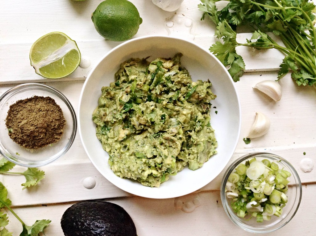guacamole with lime, cilantro, and spices