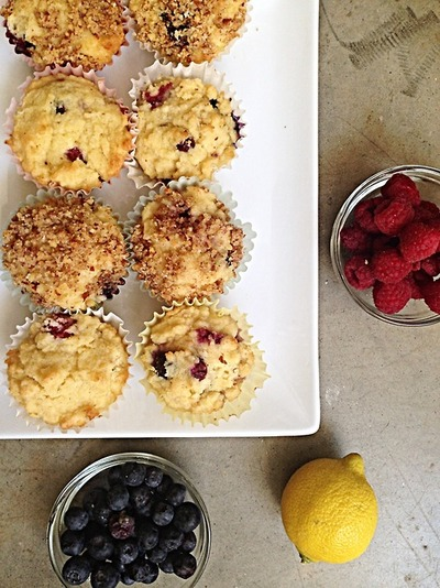 muffins with blueberries, raspberries, and lemon