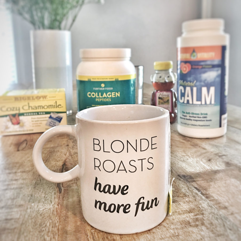 """chamomile, collagen, honey, natural calm, white mug with words """"blonde roasts have more fun"""""""
