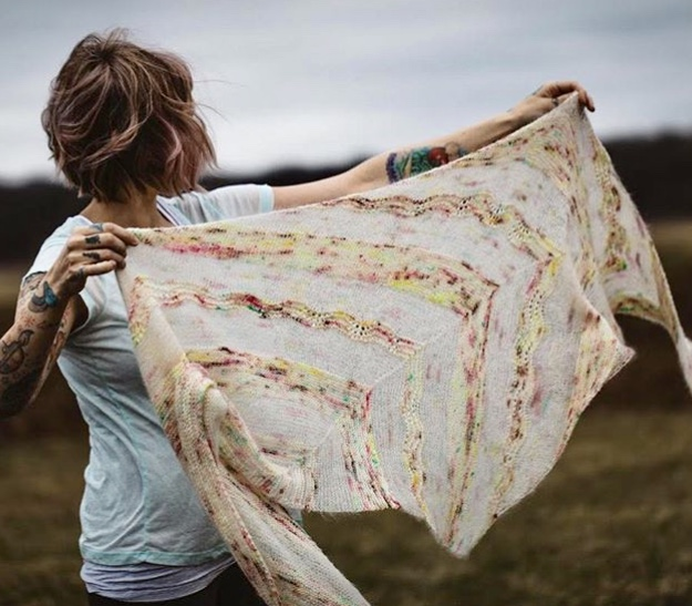 Birds of a Feather  is a beaufitul asymmetrical shawl by Andrea Mowry that uses two different weights of yarn and simple lace techniques. This KAL will be led by Jane on Tuesdays from 1:00-2:30 p.m. Call the shop or stop by in person to sign up!