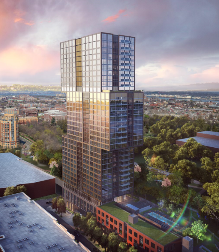 South Residential at Carlyle Plaza - Carlyle South Residential is a fully approved, to-be-built, 34-story, 368 residence luxury apartment building, rising to 355 feet with a 360 degree view of Washington, DC and the Potomac River.