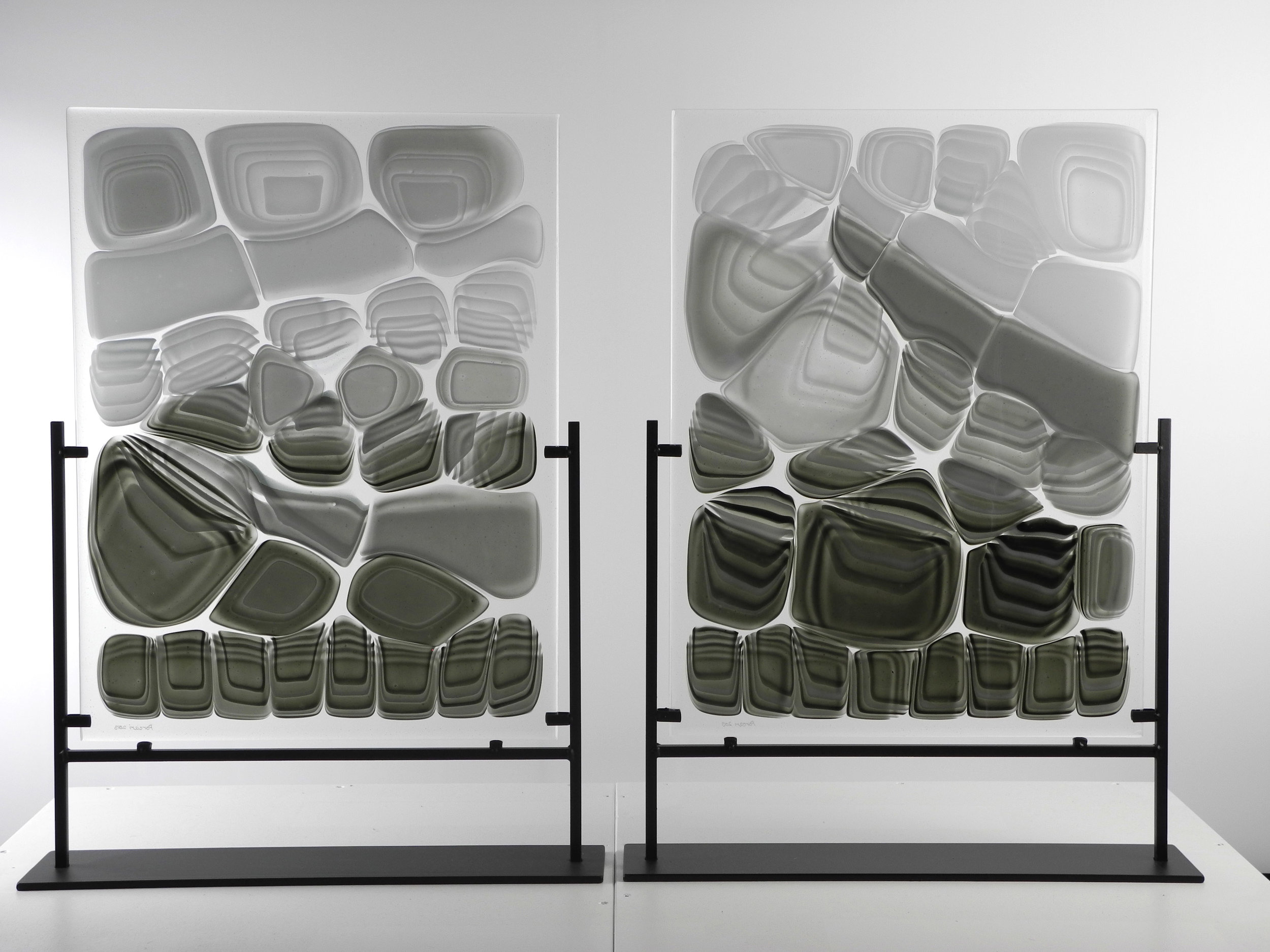 """Untitled from Strata Shift series    Fused Art Glass  25.5 """" x 16.0 """" x 4.0 """" (each)  AKA X-ray of an imagined creature 1"""