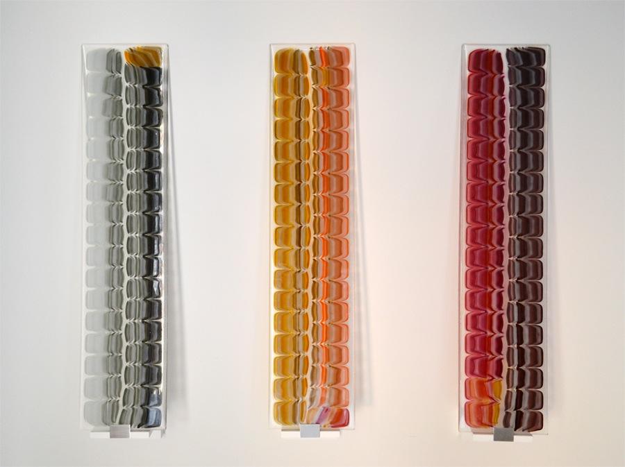 """Untitled    Fused Art Glass  8.0 """" x 36.0 """" x 0.25 """"  AKA Leatherback Shell Pattern"""