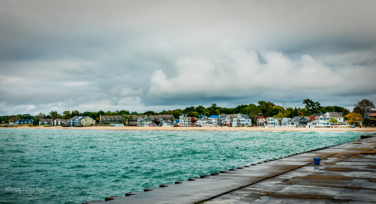 On the North Pier, looking at the cottages lined up along the North Beach. I love the varied color!