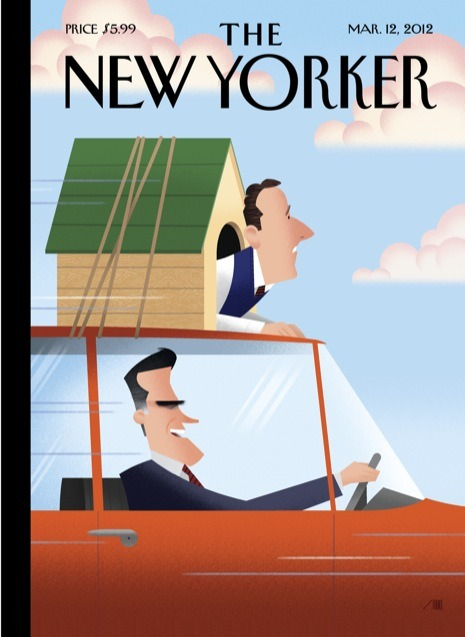 """Gail Collins  must love  this cover.    newyorker :       In This Week's Issue     David Remnick on  Israel and democracy ; Ryan Lizza on  whether the G.O.P. can save itself ; Dhalia Lithwick on  the story of Lawrence v. Texas ; Anthony Lane  reviews """"Friends with Kids"""" and """"Attenberg"""" ; and  more .   For the story behind this week's cover - """"From State to State"""" by Bob Staake:  http://nyr.kr/xZFkOf"""