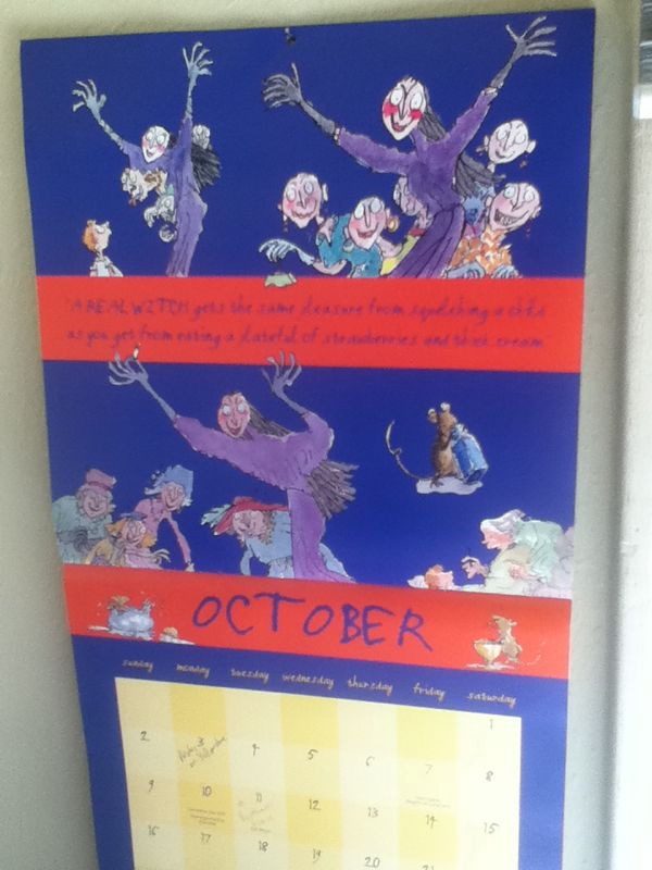 "Halloween means the end of ""The Witches"" month on my Roald Dahl calendar."
