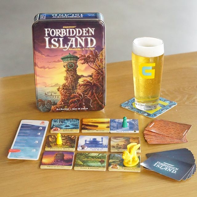 "Beer + food pairings ✔️ How about beer + game pairing?  What are your favorite beers do drink while gaming?  Check out the list (in the tasting room) of beers the team enjoys while playing their favorite games.  _______________________ Pictured:  Forbidden Island by @gamewright ""Early Access"" Amarillo Blonde 4.0% ABV  _______________________ Work together as a team to capture four sacred treasures from the ruins of this perilous paradise. Make some pulse-pounding maneuvers, as the island will sink beneath every step! Race to collect the treasures and make a triumphant escape before you are swallowed into the watery abyss!  2-4 player game _______________________  #gamewright #gamecraft #forbiddenisland #earlyaccess #blonde #ocbeer #raiseaglass #beerforplay #play #community #gamecraftbrewing #drinkcraft #craftbeer #beer #beergeek #gamer #tabletop #teamplay"