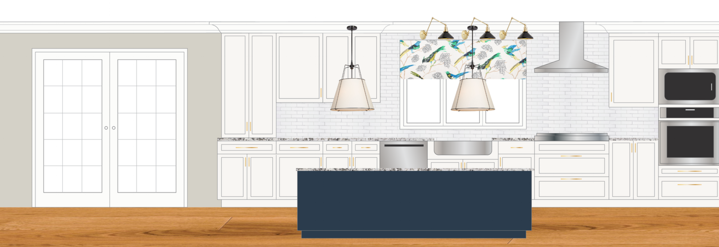 The mock-up rendering for the clients' dream kitchen in their '80s farmhouse remodel. The 11-foot navy island will be perfect for the busy family of four!