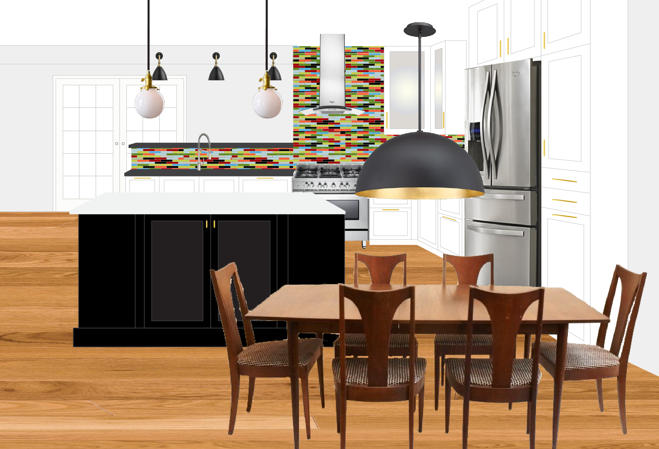 A mock-up for a kitchen renovation in an old mill house. The owners love two things (well, probably many more than two, but for the purpose of my web site, two): color and cooking! I think we've got that covered. The french doors beyond open to a large deck for fun and merriment!