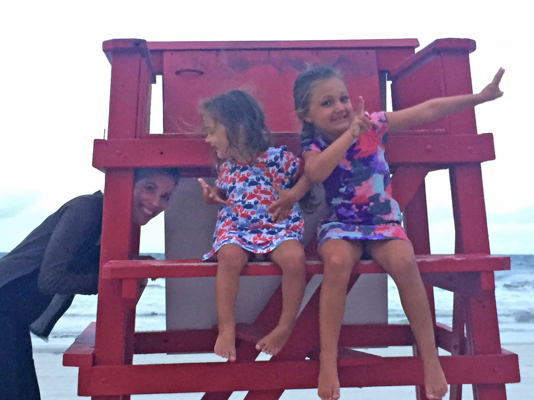 Spent a couple nights at the beach during my visit — ALL RAIN!! — but at least the skies parted for a nice evening walk on the beach, which obviously had to include climbing around on a lifeguard stand with a couple munchkins.