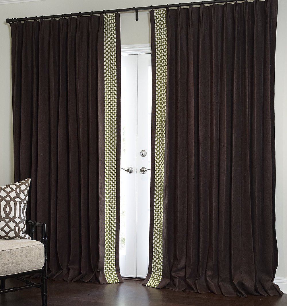 Inset edge banding. Edge banding is a super easy and inexpensive way to up-level store bought or plain Jane curtain