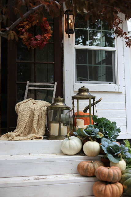 I absolutely love the natural simplicity here. It makes me almost literally ache for Fall! … excellent styling by  French Country Cottage .