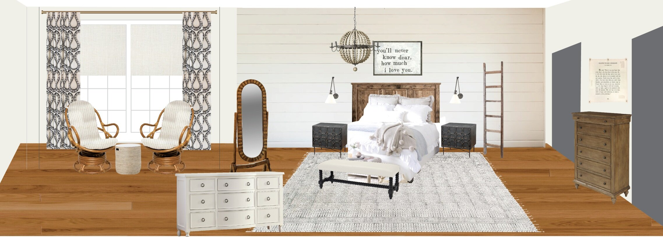 Another example of an option presented for a farmhouse-style master bedroom. All Peppermint room designs are presented in this way. Photo-realistic 3D renderings are also available.