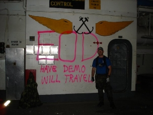 Me tagging the USS Guadalcanal LPH-7 prior to setting explosive charges
