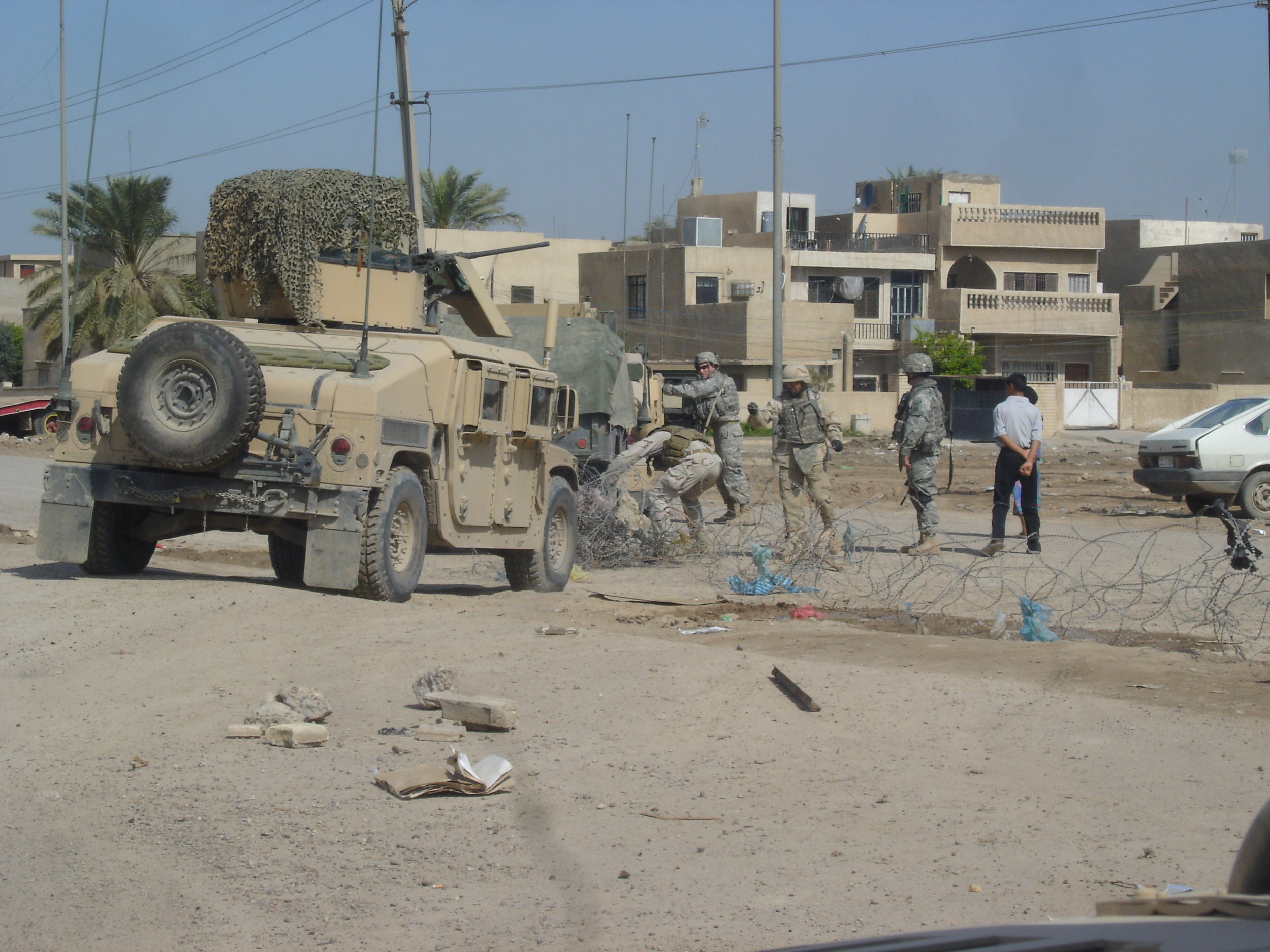 Iraq war stories:   Humvee getting stuck in constantino razor wire on our way to the explosives pickup.
