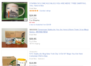 Picture of starbucks mugs   currently on eBay