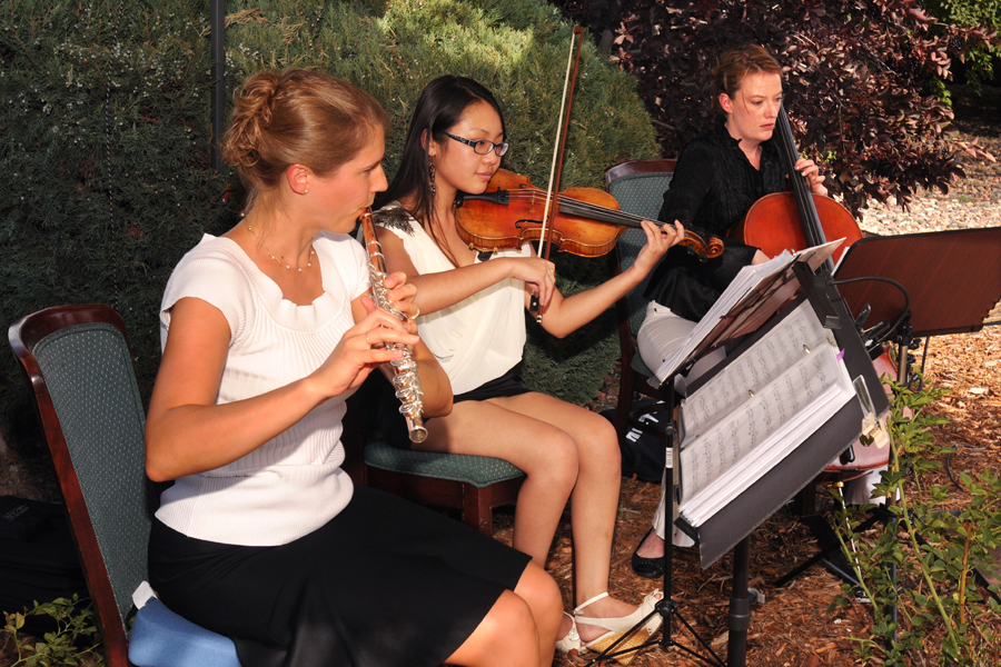 Flute and String Trio, Wedding Ceremony Music at Gabriel's Northern Italian Restaurant in Sedalia