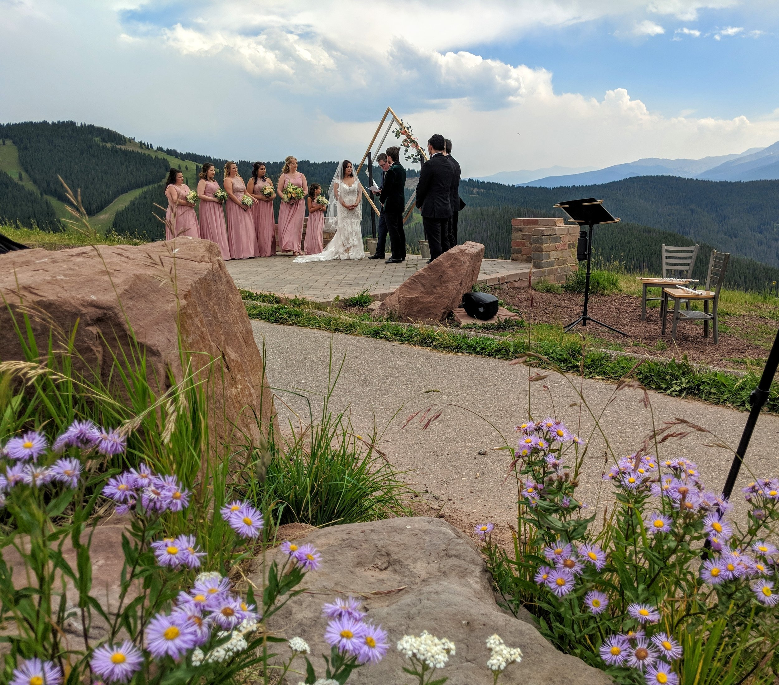 Vow Renewal Wedding Ceremony on the Vail Wedding Deck, Flute and Strings by Christen Stephens