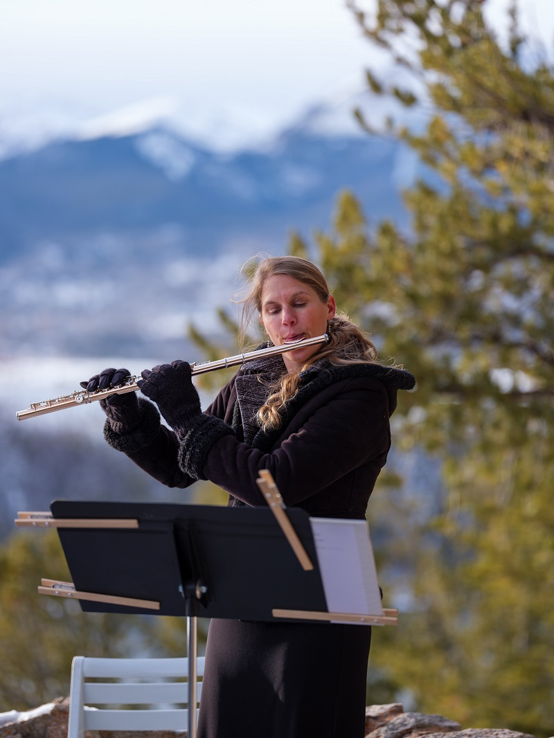 Solo flute wedding ceremony music at sapphire point in dillon, colorado, photo by ian riley