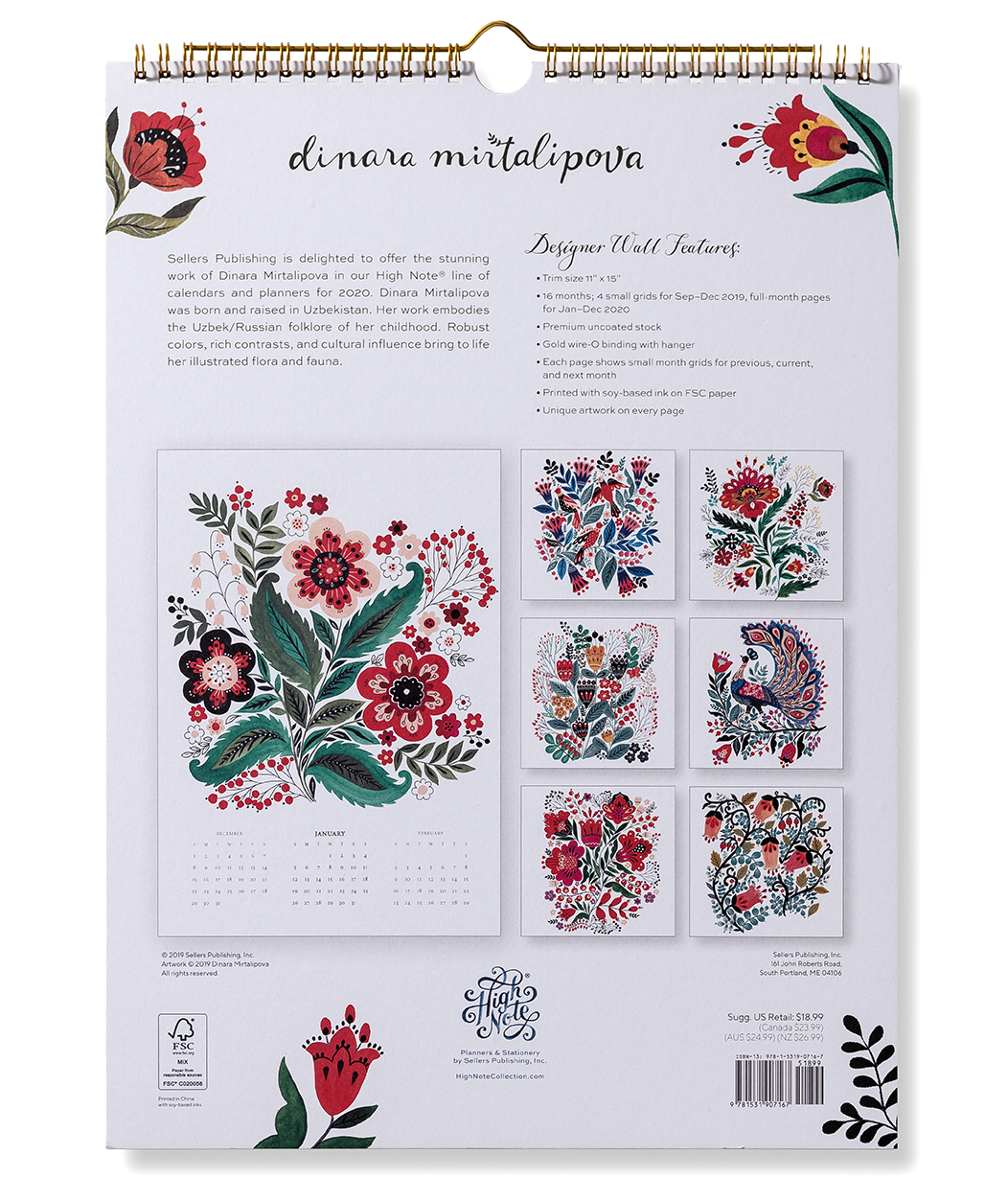 High Note 2020 Floral Typography by Jill De Haan Designer Wall Calendar