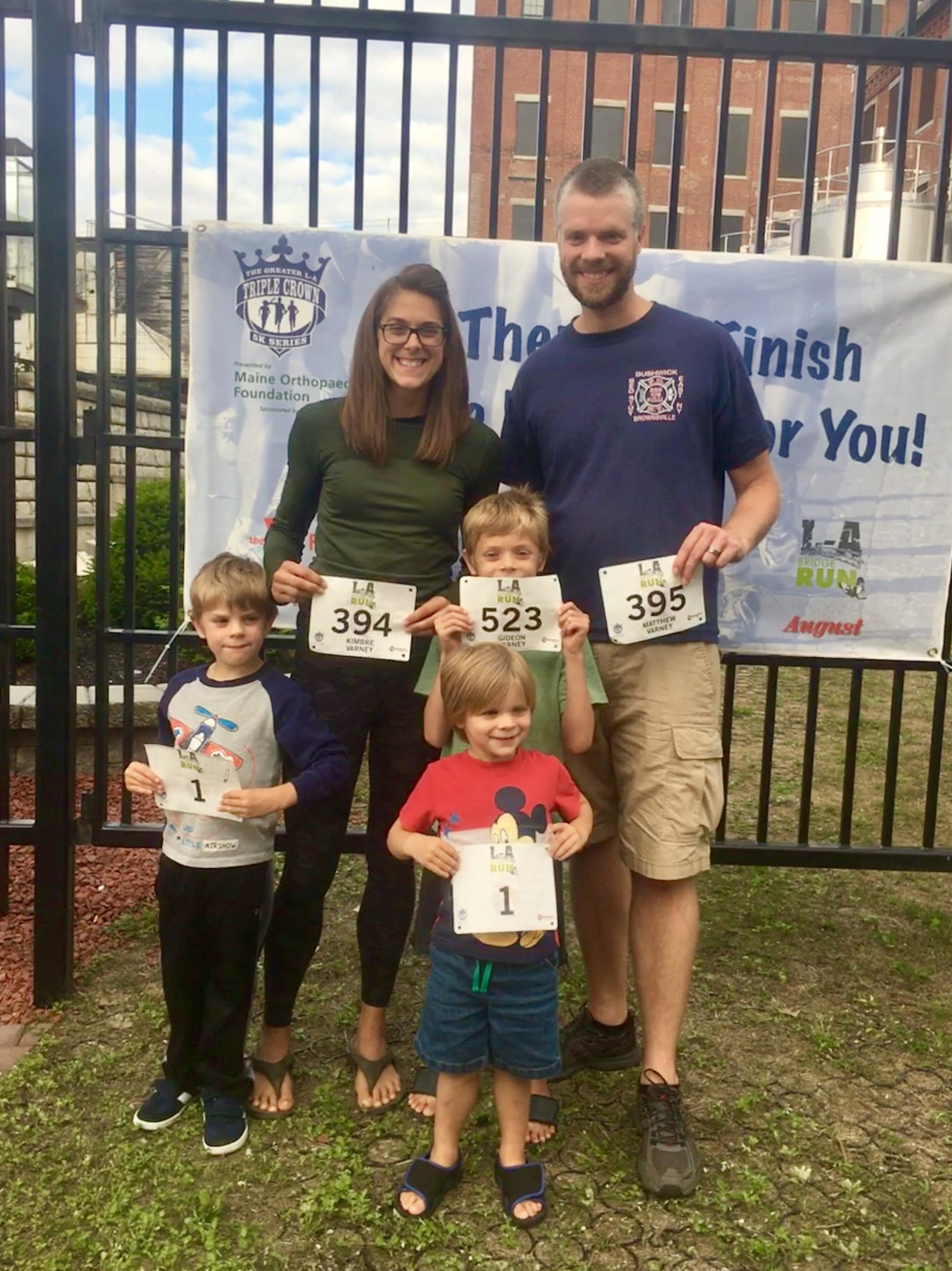 Kimbre with her husband Matt and their 3 boys. Follow Kimbre's journey on instagram at @  @run_the_root_cellar_