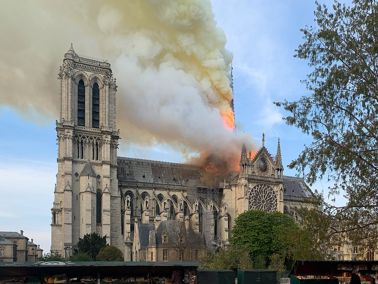 The Notre Dame cathedral in Paris suffers a massive fire. Image credit: Wandrille de Preville//Wikimedia Commons