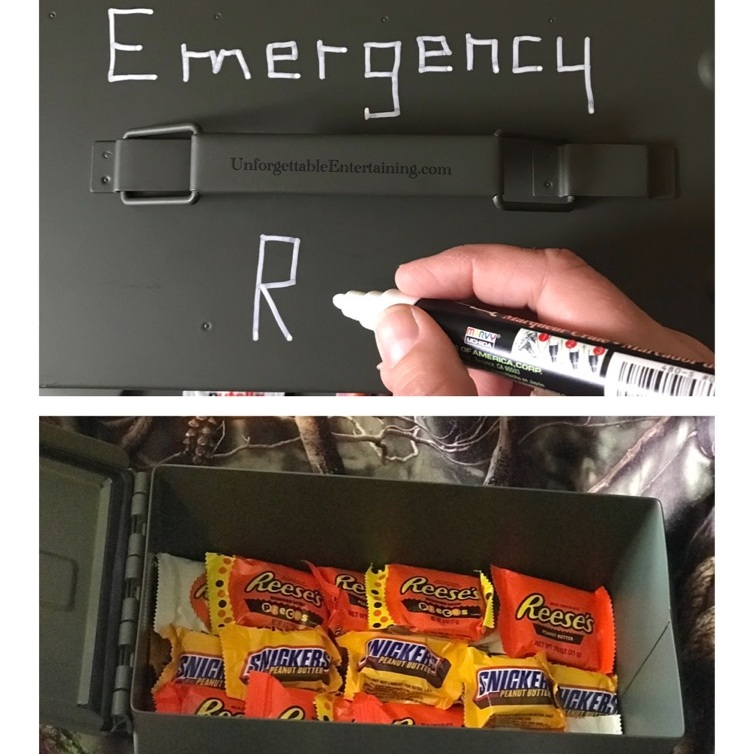 I used a chalk marker to label the top of the box - EMERGENCY RATIONS