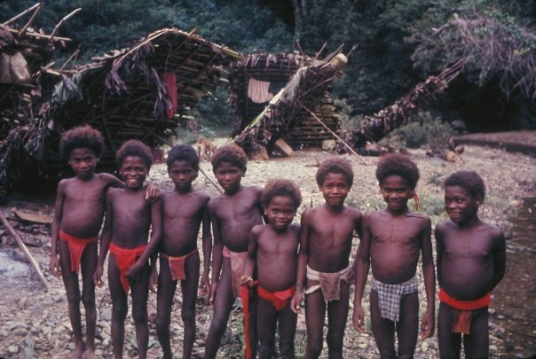 Agta boys wearing their traditional tribal attire