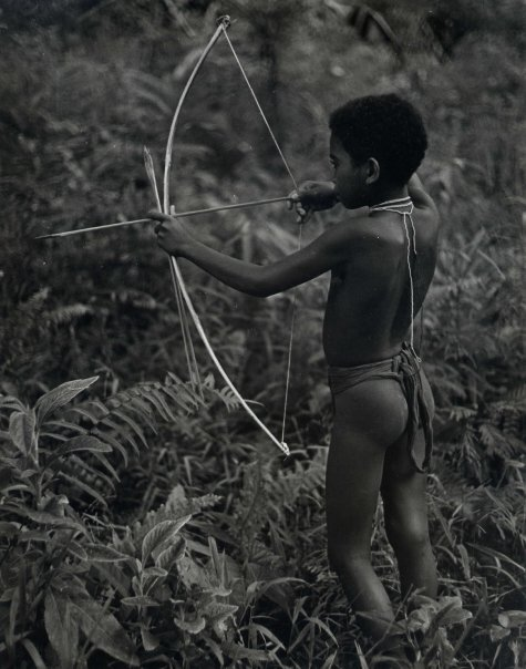 This is a young Agta hunting in the jungle.