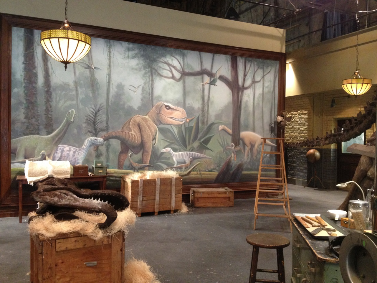 Hand painted mural on muslin installed on set