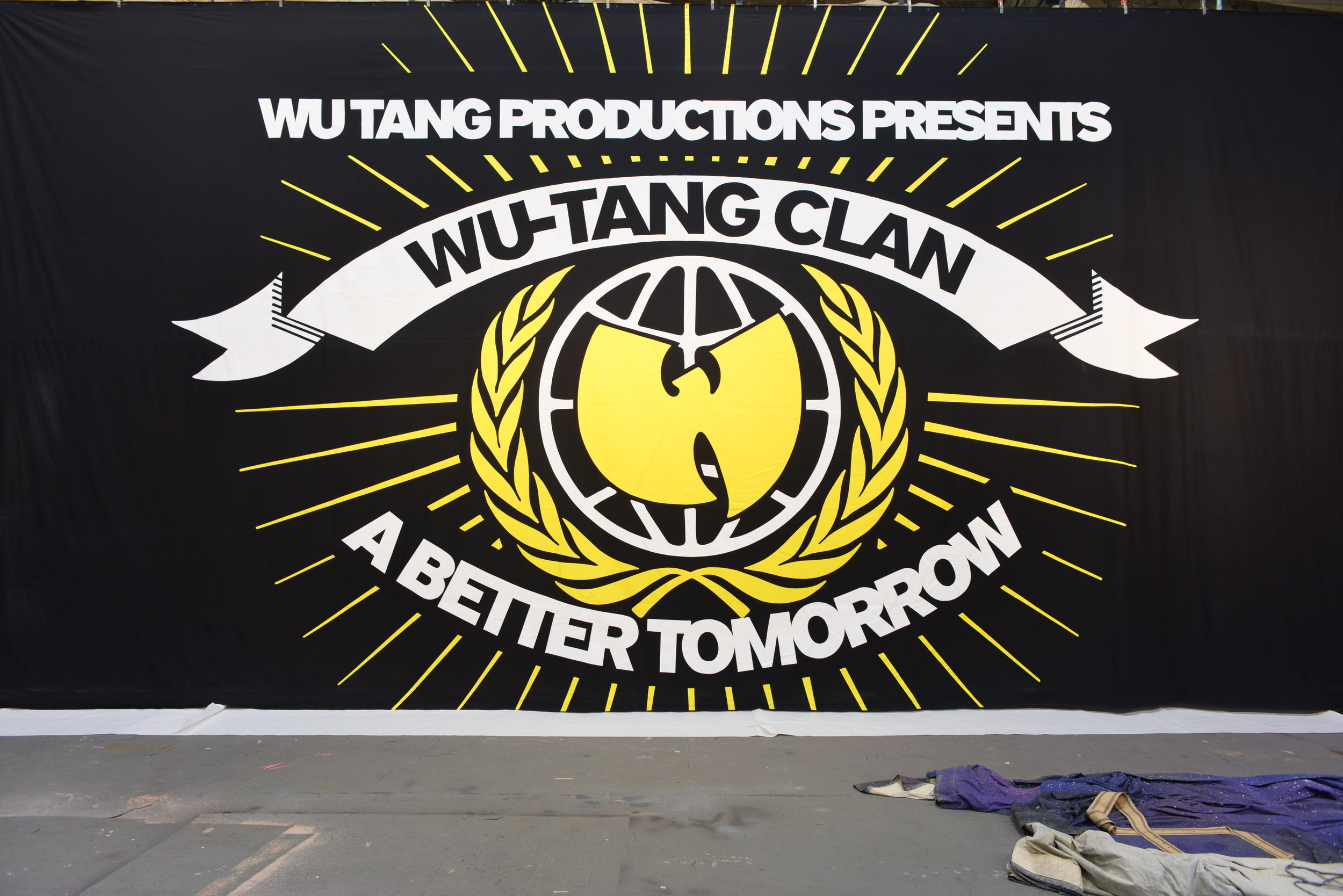 Wu Tang Clan   Hand painted backdrop on dyed black muslin