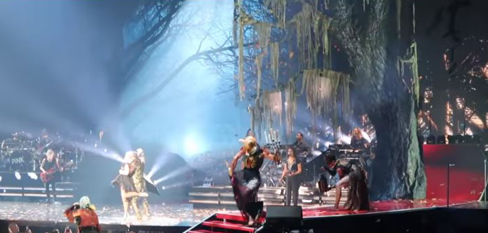 Pink   Tree applique drop on stage during 2018  Beautiful Damage  tour